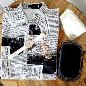 Tops - Newsprint button up blouse